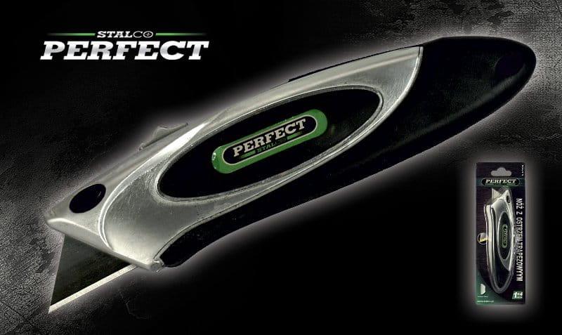 Nóż z ostrzem trapezowym 0,6 mm + 5 ostrzy  STALCO  PERFECT - BR-Stalco Leżajsk