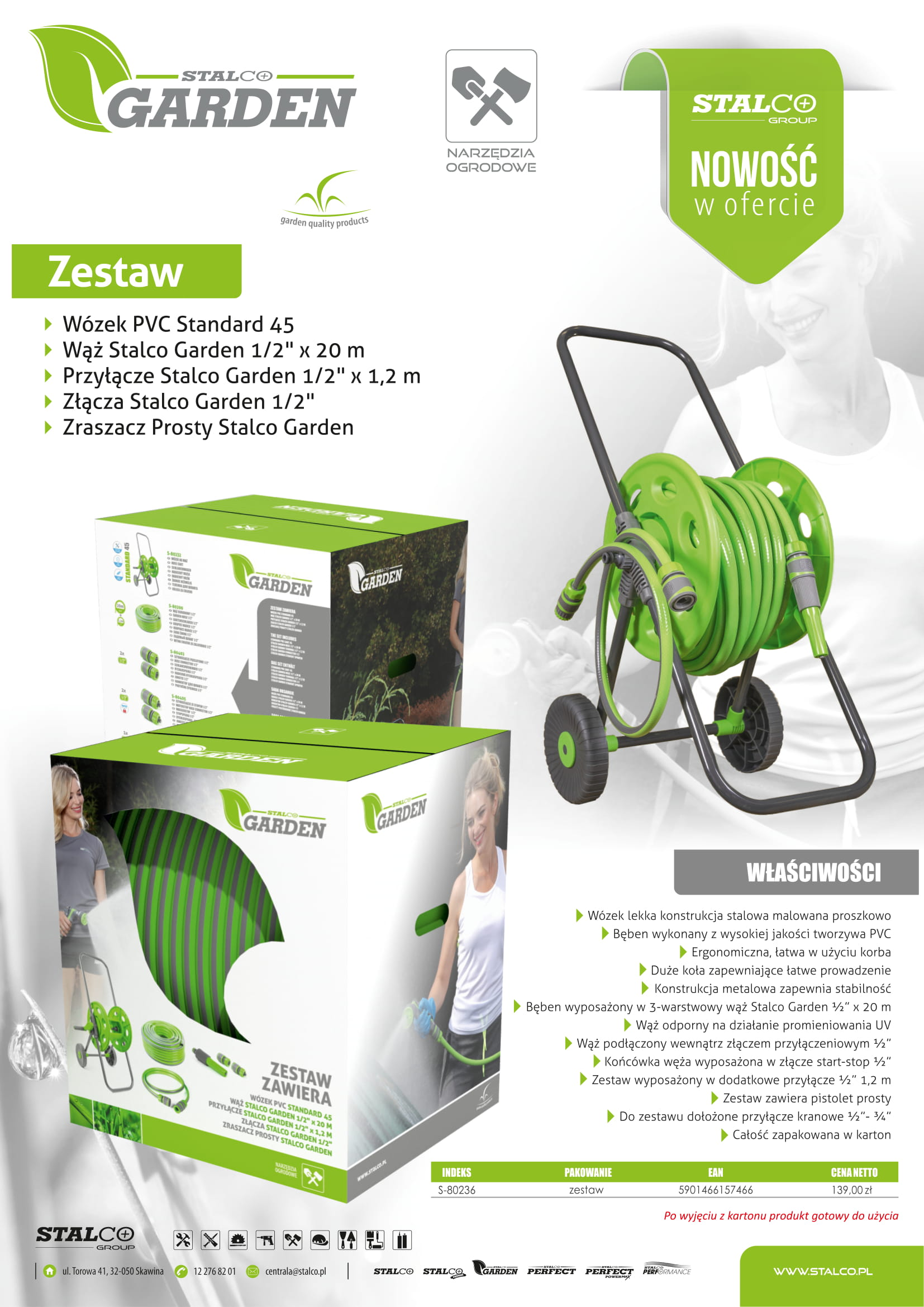 Wózek z przyłączem 1/2″ wraz z wężem 20mb + złączki (zestaw)   STALCO GARDEN - BR-Stalco Leżajsk