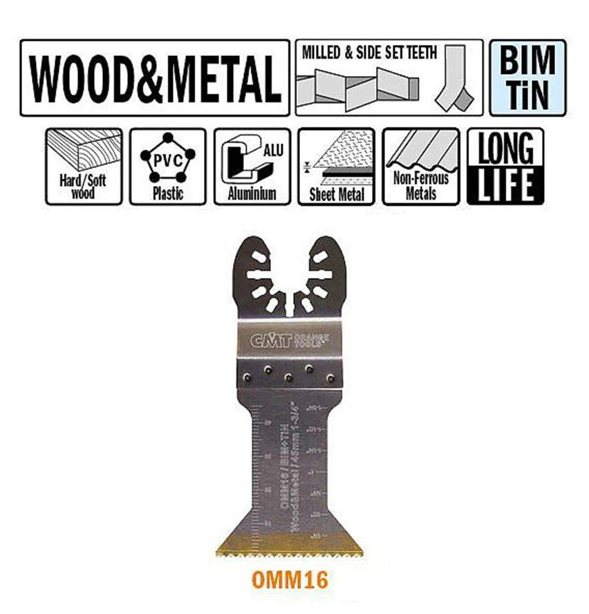 Brzeszczot 45 mm z podwyższona żywotnością do ciecia wgłębnego w drewnie i metalu.     CMT - BR-Stalco Leżajsk